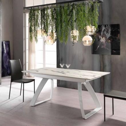 Mesa extensible hasta 270 cm moderna con patas de metal, Villongo