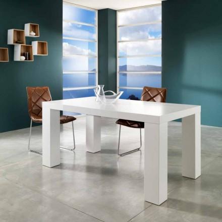 Mesa extensible moderna con acabado lacado blanco opaco Demy