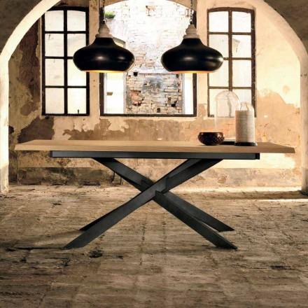 Mesa extensible de diseño en madera de roble made in Italy, Oncino