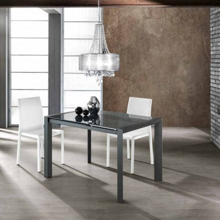 Mesa extensible en cristal templado gris y metal Zeno