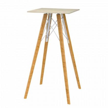 Mesa de bar cuadrada alta de madera y efecto mármol, 4 piezas - Faz Wood by Vondom