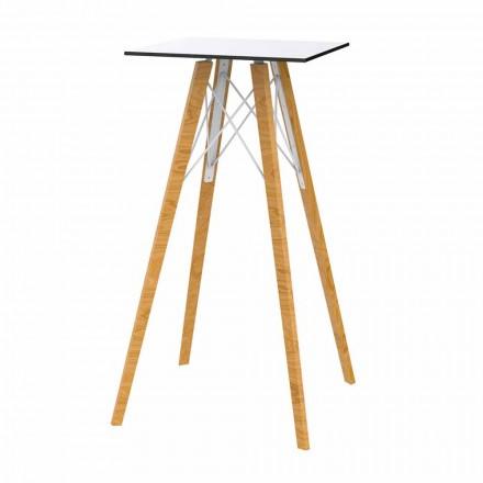 Mesa de bar alta cuadrada de diseño en madera y Hpl, 4 piezas - Faz Wood by Vondom