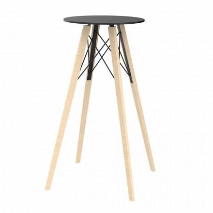 Mesa de bar alta redonda de diseño en madera y Hpl, 4 piezas - Faz Wood by Vondom