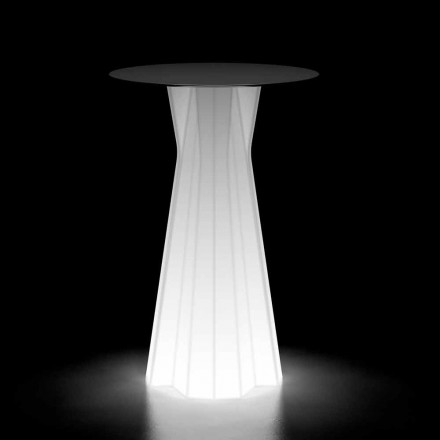 Mesa de exterior luminosa con base LED y tablero de Hpl Made in Italy - Tinuccia