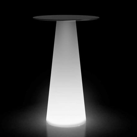 Mesa alta de exterior con LED en HPL y polietileno Made in Italy - Forlina