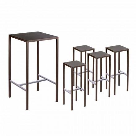 Mesa de bar con 4 taburetes de exterior en metal pintado Made in Italy - Fada
