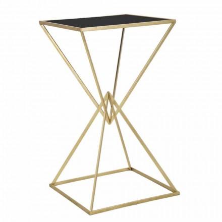 Mesa de bar cuadrada de diseño moderno en hierro y vidrio - Hily