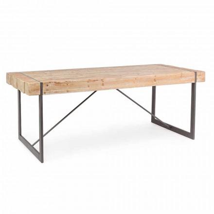 Mesa de madera de abeto de estilo industrial Homemotion - Wallie