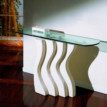 Mesa consola de piedra Vicenza y cristal hecha a mano Ciril
