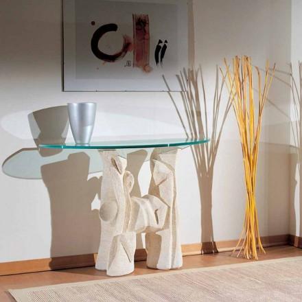Mesa console de piedra Vicenza y cristal hecha a mano Dios