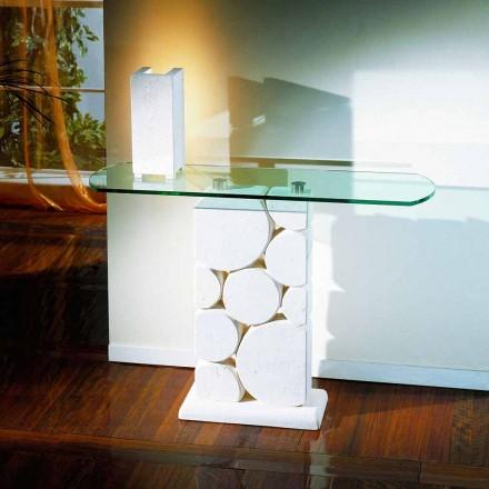Mesa consola de piedra Vicenza y cristal hecha a mano Hosios