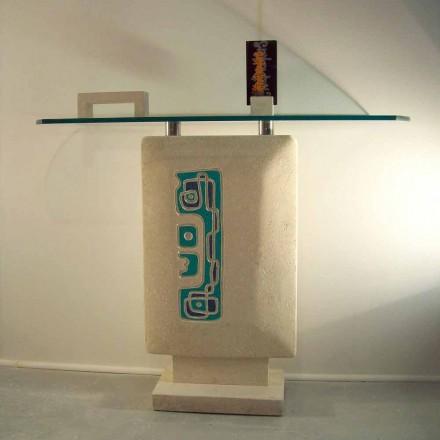 Mesa consola rectangular piedra Vicenza hecha a mano Soter