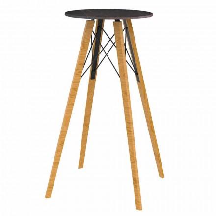 Mesa alta redonda de 4 piezas en madera y efecto mármol - Faz Wood by Vondom