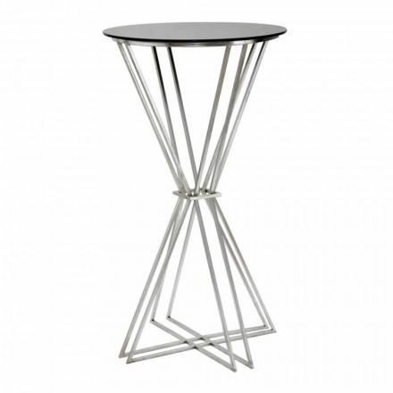 Mesa redonda de diseño moderno en hierro y vidrio - Benita