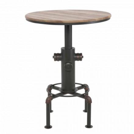 Mesa de bar redonda de estilo industrial en diseño de hierro y madera - Niv