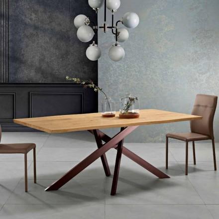 Mesa de comedor de madera maciza de diseño hecha en Italia, Dionigi