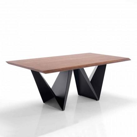 Mesa de comedor de diseño moderno en Mdf y metal - Helene