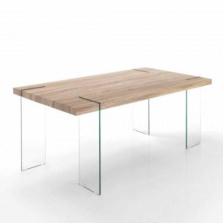 Mesa de cocina moderna con sobre de Mdf y base de vidrio - Joey