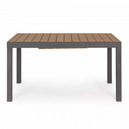 Mesa de exterior extensible hasta 200 cm con tablero en teca - Acabado Bobel
