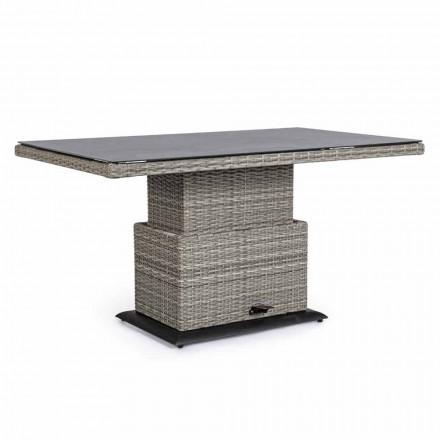 Mesa para exterior en cerámica y fibra sintética, altura ajustable - Claire