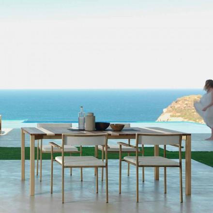 Mesa de exterior moderna Casilda Talenti en madera y acero inoxidable 200x100