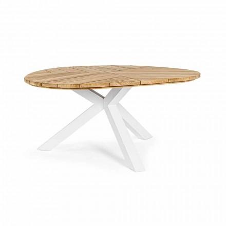 Mesa de exterior redonda de teca con base de aluminio, Homemotion - Selenia