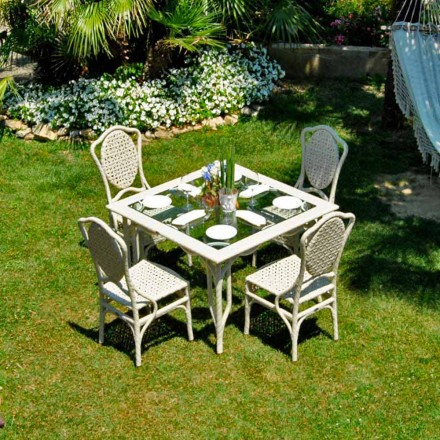 Mesa de jardín de diseño con tablero cristal modelo Romeo