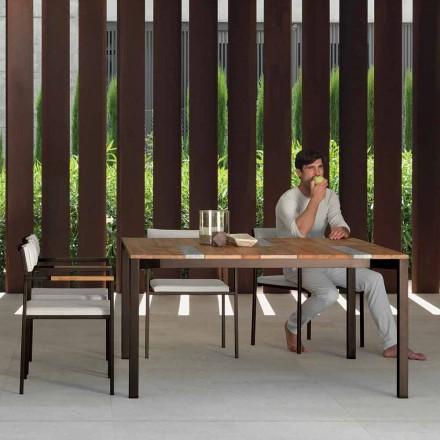 Mesa de jardín Casilda Talenti en madera y acero inoxidable 150x150 cm