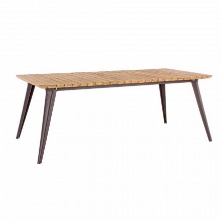 Mesa de jardín de madera de teca y base de aluminio Homemotion - Amabel