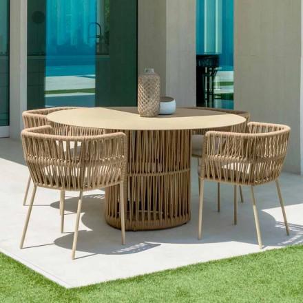 Mesa de jardín redonda Cliff de Talenti, en aluminio, diseñada por Palomba
