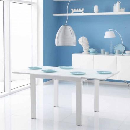 Mesa de comedor extensible con tablero de cristal modelo Teo