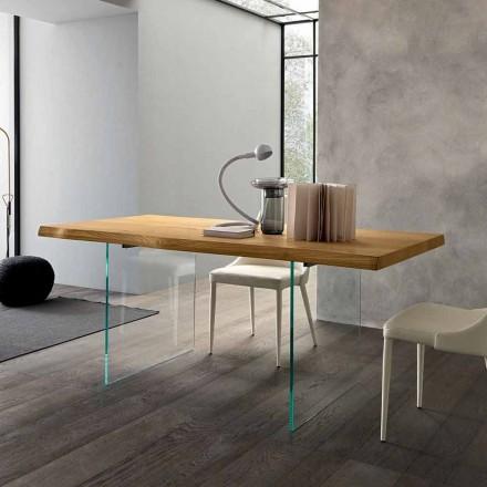 Mesa de comedor extensible hasta 280 cm en madera y vidrio Made in Italy - Focus