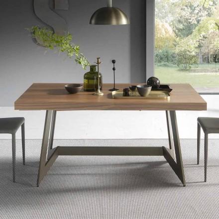 Mesa de comedor extensible hasta 160 cm en madera Made in Italy - Eugenia