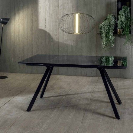 Mesa de Comedor Extensible hasta 240 cm en Vidrio Templado Negro Ahumado - Fener
