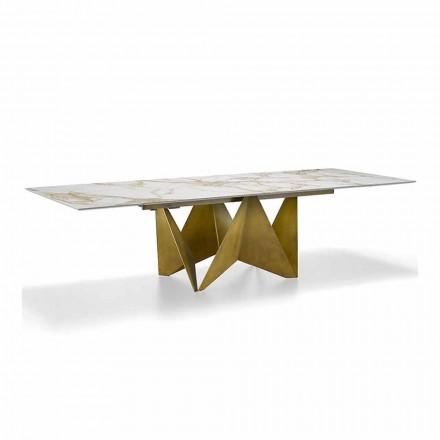 Mesa extensible de lujo hasta 294 cm en gres de mármol Made in Italy - Macro