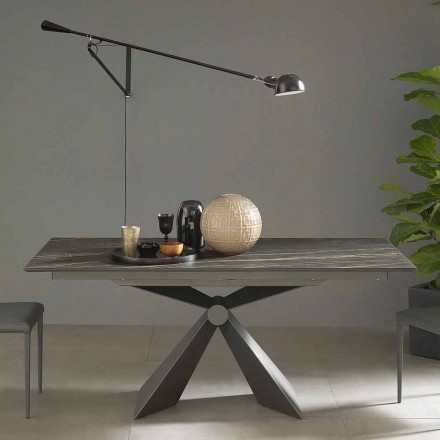 Mesa de comedor extensible hasta 298 cm en cerámica Made in Italy - Anaconda