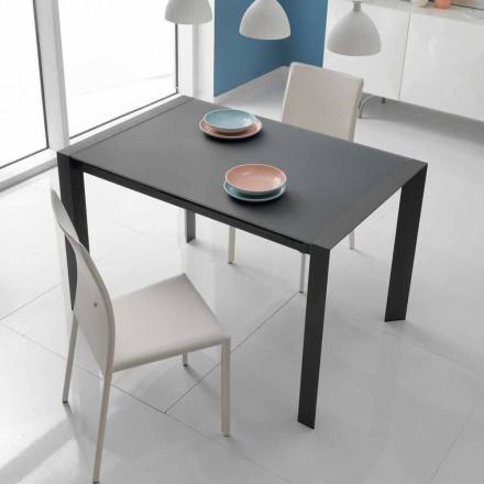 Mesa de comedor extensible de cristal y metal modelo Oddo