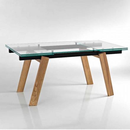 Moderna mesa de comedor extensible de vidrio hecha en Italia, Azad