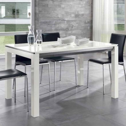 Mesa de comedor extensible de madera de nogal Tanganika lacado blanco brillante - Ketla