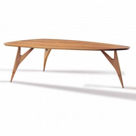 Mesa de comedor, hecha a mano, en madera maciza de nogal Made in Italy - Nocino