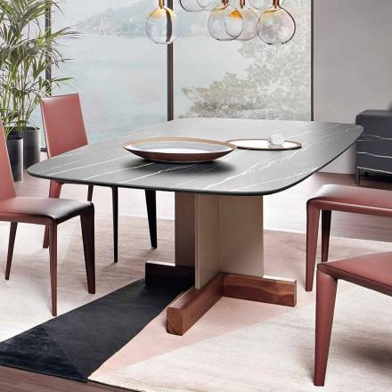 Mesa de comedor con tapa de cerámica Made in Italy - Mesa cruzada Bonaldo