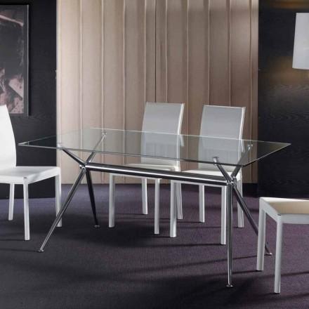 Mesa de comedor moderna con tablero de vidrio templado modelo Thor