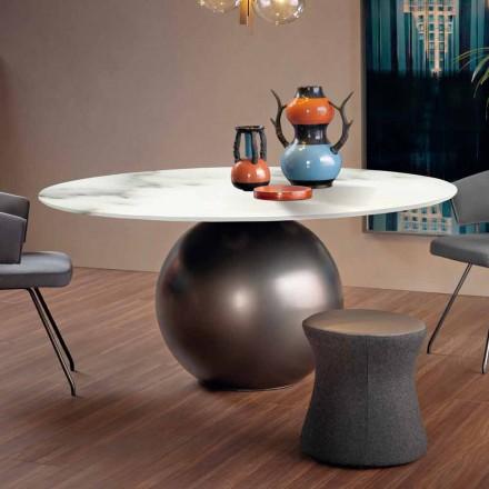 Mesa de comedor con tapa redonda en mármol mate Made in Italy - Bonaldo Circus