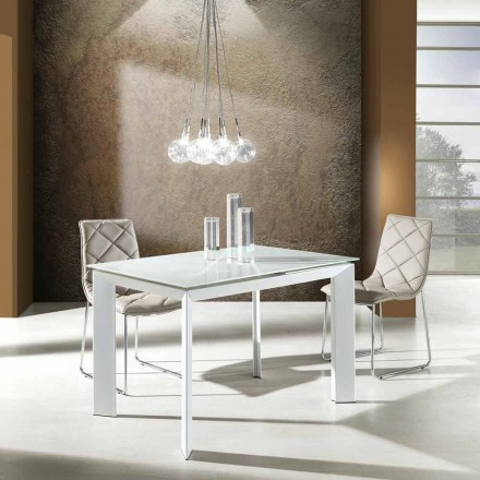 Mesa con tablero de cristal templado pintado blanco Zeno