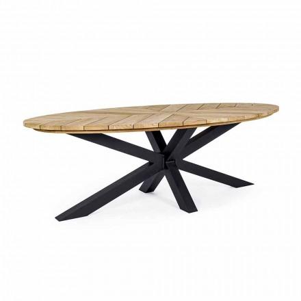 Mesa de comedor exterior con tapa ovalada en teca, Homemotion - Selenia