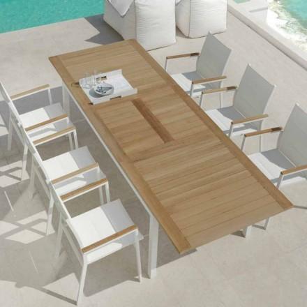 Mesa de comedor extensible para jardín en madera de teca Timber