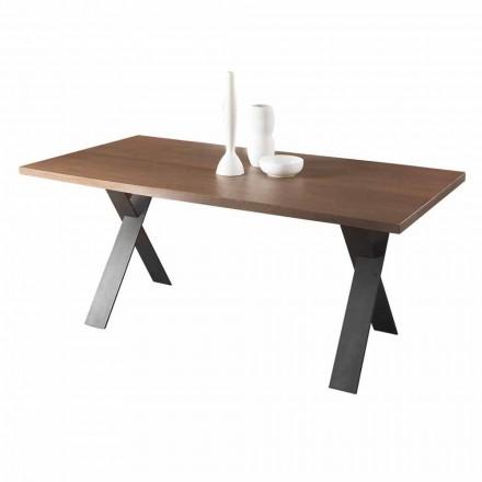 Mesa de comedor de diseño con tapa de madera de roble o nogal Made in Italy - Lucas