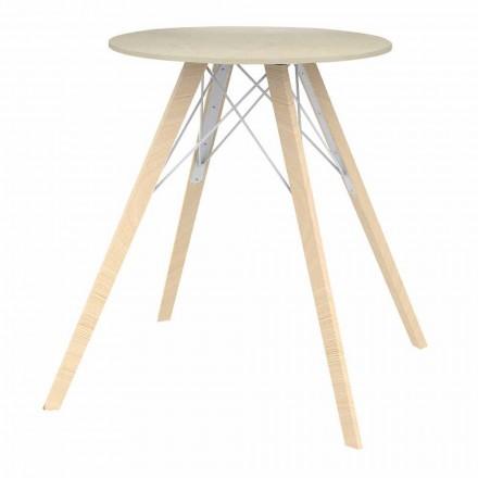 Mesa de comedor redonda de diseño en madera y Dekton 4 piezas - Faz Wood by Vondom