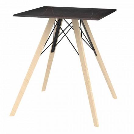 Mesa de comedor de diseño en madera y cuadrada Dekton 4 piezas - Faz Wood by Vondom
