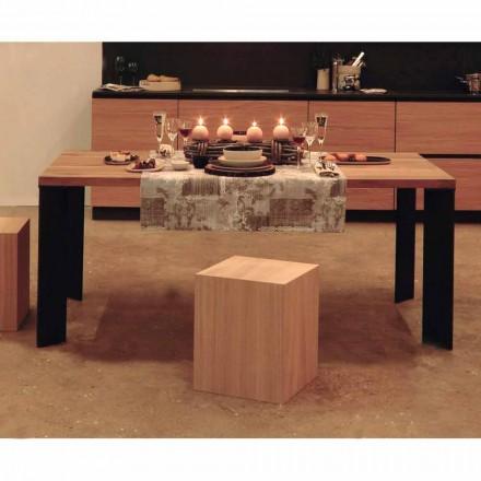 Mesa de comedor de diseño en diseño de nogal natural, L200xP100cm, Yvonne